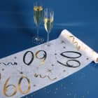 Deko Tischläufer aus Vlies zum 60. Geburtstag - gold