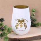 Merry Christmas - Graviertes Windlicht mit Mistelzweig