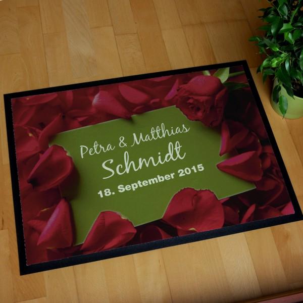 Fußmatte mit Rosen zur Hochzeit
