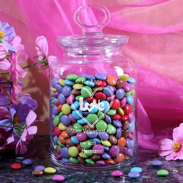 Glasdose mit Glasdeckel und Gravur zum Valentinstag mit Wunschnamen