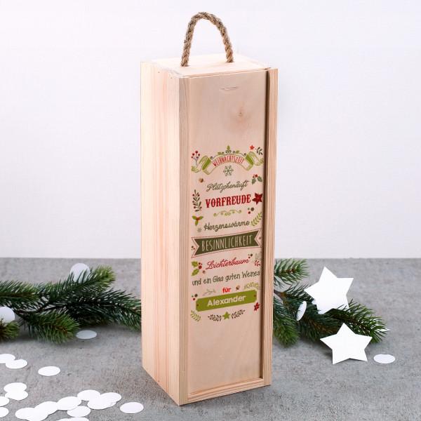 holzkiste als geschenkverpackung mit weihnachtsmotiv. Black Bedroom Furniture Sets. Home Design Ideas