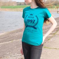 Damen T-Shirt zum Geburtstag mit Name, Jahreszahl und Glückwunschtext