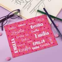 Brillenputztuch in rosa mit Namen bedruckt