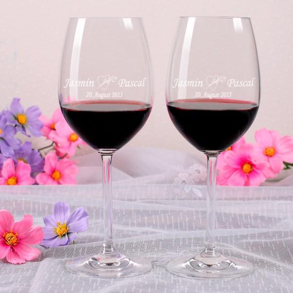 2 Weingläser mit identischer Gravur