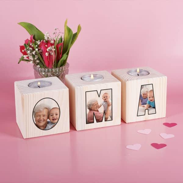Teelichthalter für die beste Oma mit 3 Fotos