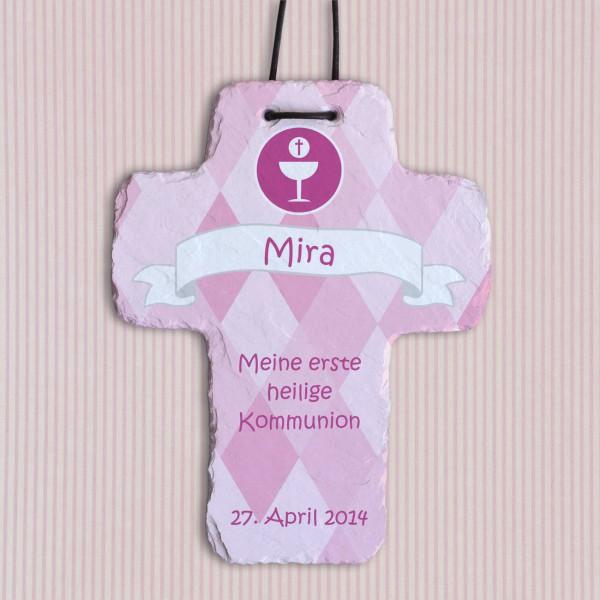 Schieferkreuz zur Kommunion / Konfirmation mit Wunschtext