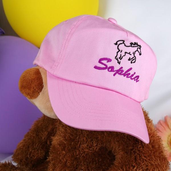 Basecap mit Wunschnamen und Pferd, rosa