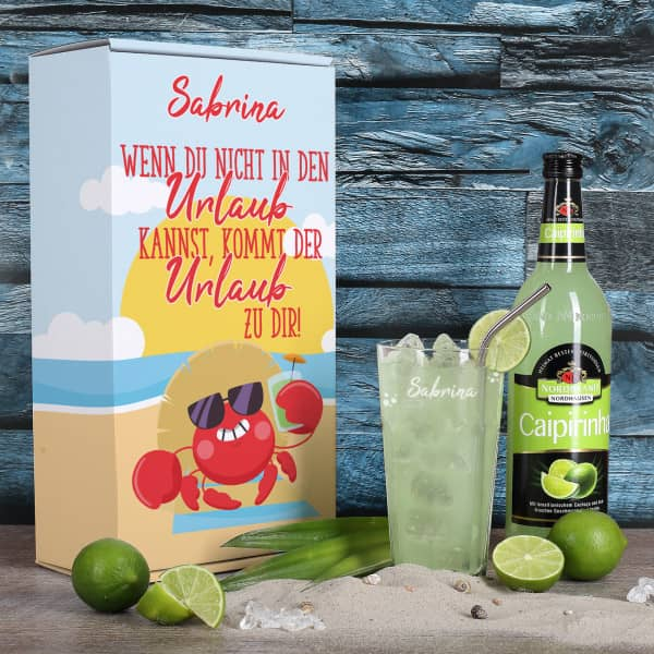 Urlaubsbox mit Verpackung aus Pappe, Caipirinha Glas mit Gravur und Caipirinha Glas