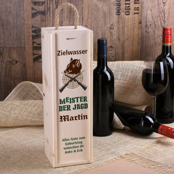 Flaschenverpackung aus Holz für Jäger mit Name
