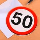 Karte mit Verkehrszeichen zum 50. Geburtstag