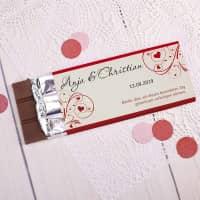 100g Schokolade mit Namen, Datum und Wunschtext als Gastgeschenk zur Hochzeit