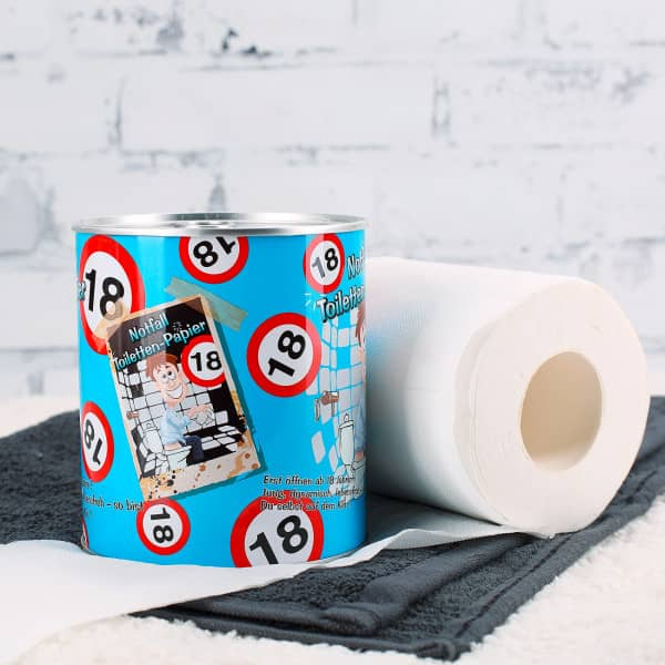 Notfall Toilettenpapier in der Dose zum 18.Geburtstag