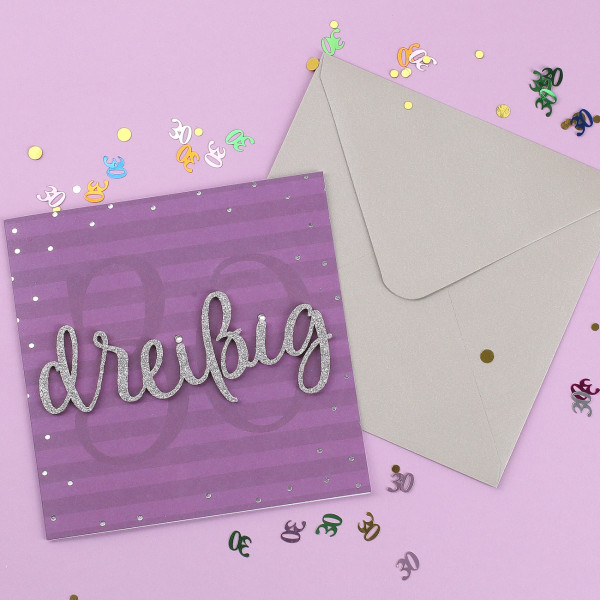 Glückwunschkarte zum 30. Geburtstag mit 3D Schriftzug in silber