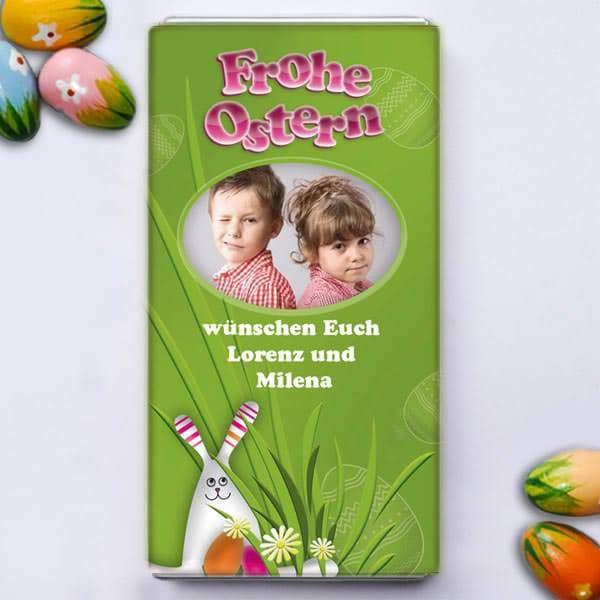 Osterschokolade mit Ihrem Foto und Grußtext