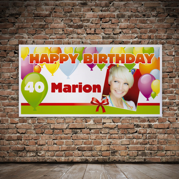 Foto - Banner zum Geburtstag mit Name und Alter