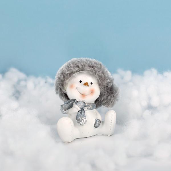 Schneemann mit Plüsch-Mütze
