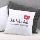 Kissen - Ich liebe dich - mit Like-Symbol und Wunschtext für Verliebte