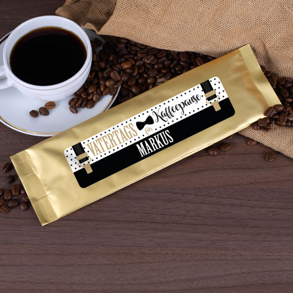 Kaffeepulver Vatertags Kaffeepause mit Name und Hosenträger Motiv