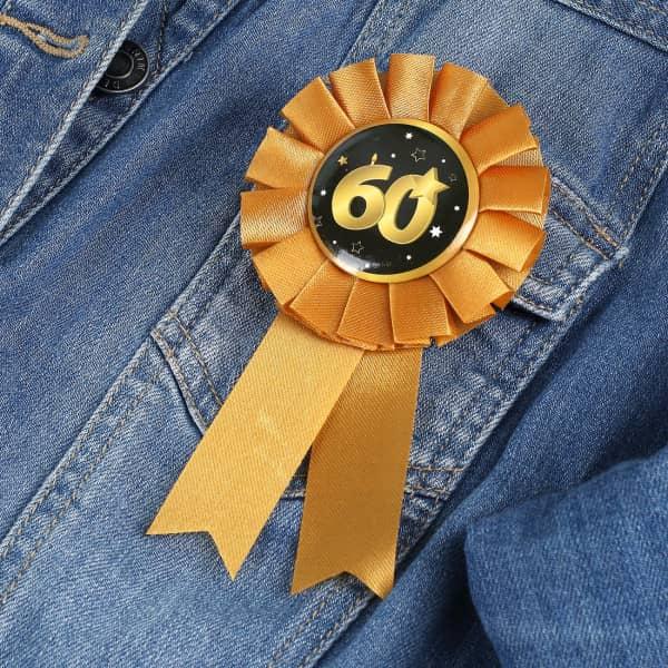 Rosette in gold zum 60. Geburtstag