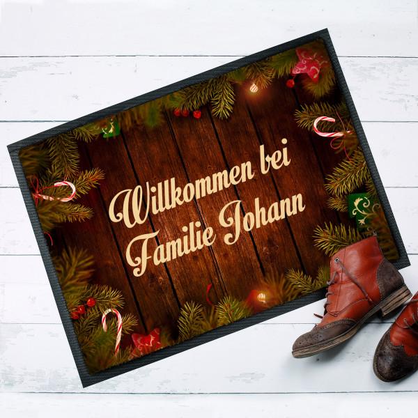 Weihnachtsfußmatte ''Willkommen bei'' mit Ihrem Wunschtext