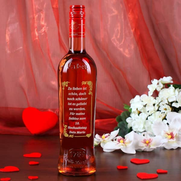 Persönliche Weinflasche mit Gravur in gold und silber