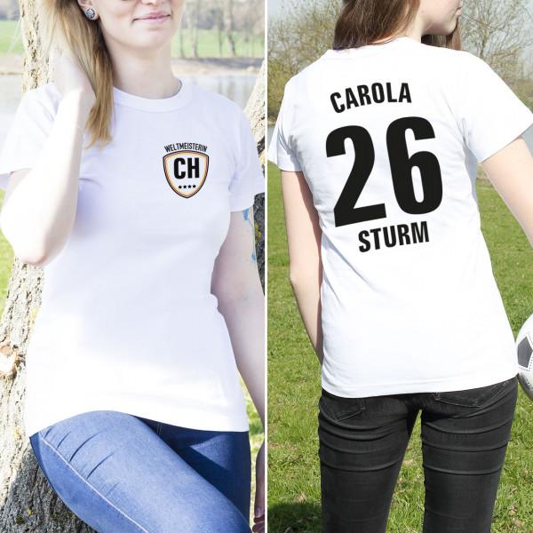 Fussball Weltmeister Damen T Shirt im Trikot Look mit Brust und Rückendruck