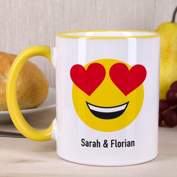 Emoticon Tasse - Lächelndes Gesicht mit verliebten Herz-Augen - Wunschtext