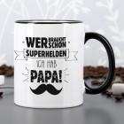 Tasse zum Vatertag mit schwarzem Rand und Henkel