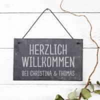 Schieferplatte 25 x 15 cm mit Herzlich Willkommen und Ihrem Wunschtext graviert