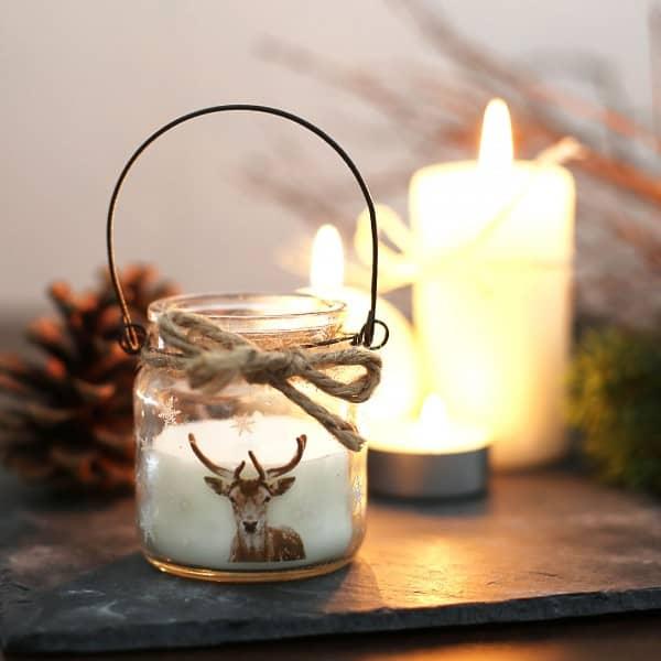 Windlicht - Kerze im Glas mit Hirschmotiv