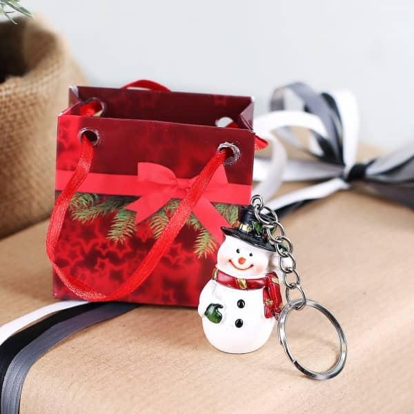 Schneemann Schlüsselanhänger mit Geschenktüte