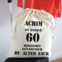 personalisierter Zuziehbeutel zum 60. Geburtstag des alten Sacks