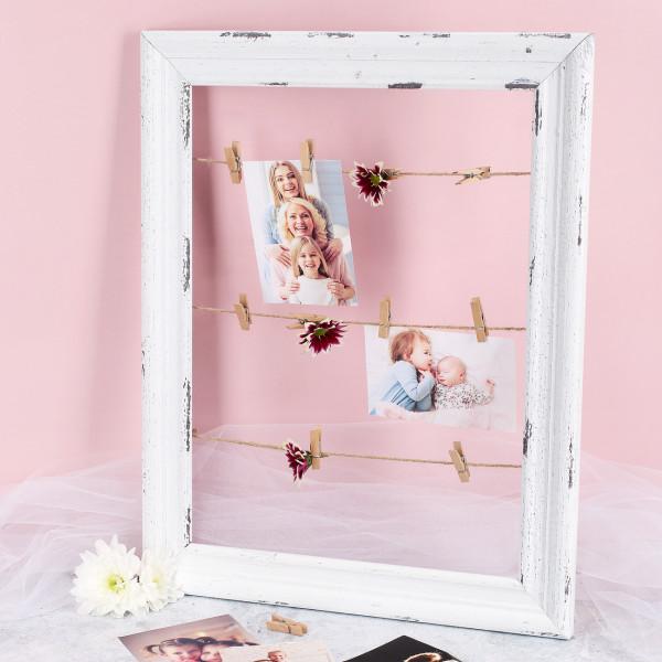 Holzbilderrahmen mit Wäscheleine und Mini Klammern