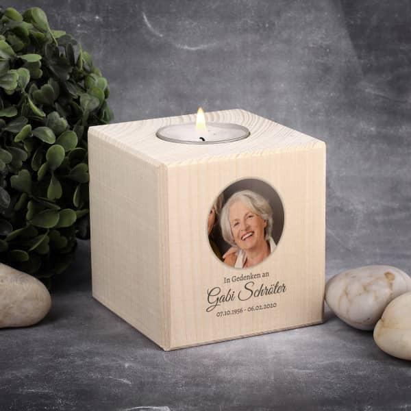 Gedenk Kerze für Teelichter mit Foto