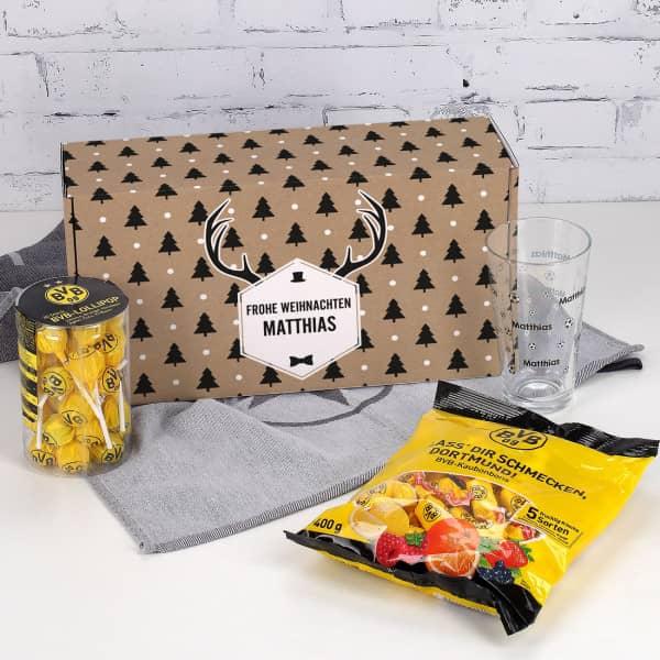 Ausgefallenspezielles - Weihnachtsset für Dortmund Fans mit Glas, Bonbons und Lollis - Onlineshop Geschenke online.de