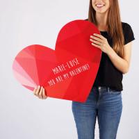 XXL Klappkarte Herz bedruckt mit You Are My Valentine und Wunschnamen