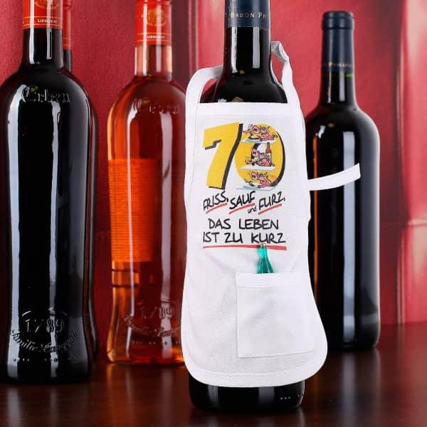 Flaschenschürze zum 70. Geburtstag