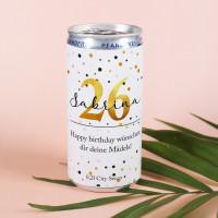 Geburtstagssecco in der Dose mit Ihren Angaben bedruckt