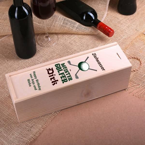 Ausgefallenspezielles - Holzkiste als Flaschenverpackung für Golfer - Onlineshop Geschenke online.de