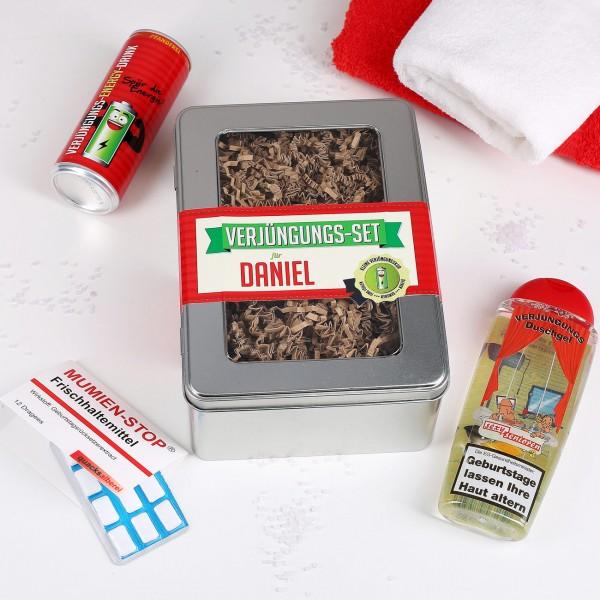 Lustiges Verjüngungs-Set in Geschenkbox mit Name bedruckt