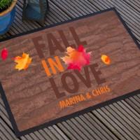 Fußmatte mit Herbstmotiv, Spruch und Ihren Namen