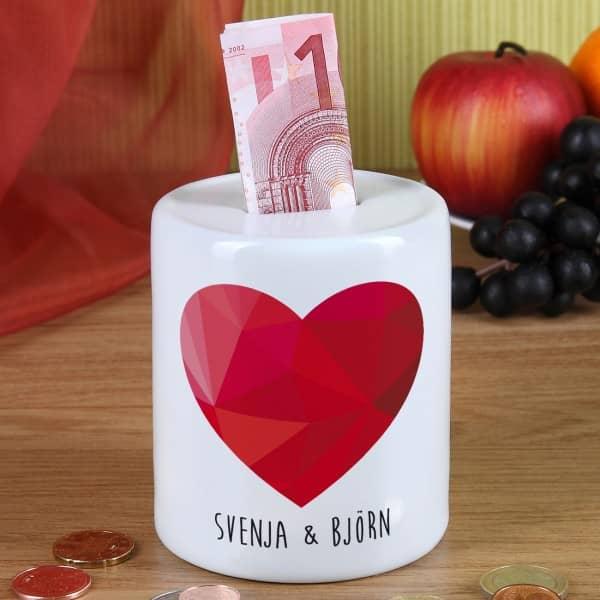 Spardose mit polygonalem Herz und Wunschnamen Geschenk für Paare