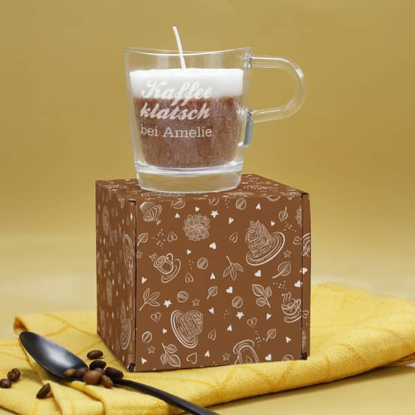 Kaffeeklatsche Glas mit Duftkerze mit Cappuccino Duft