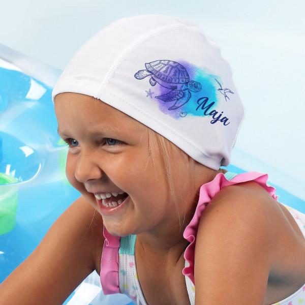Badekappe für Kinder mit Watercolor Schildkröte und Ihrem Wunschnamen