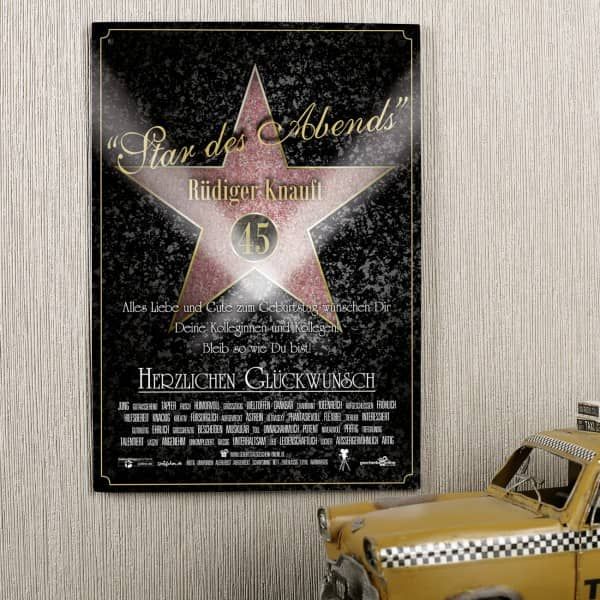 Blechschild mit Aufdruck Star des Abends Walk of Fame