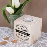 Holz-Teelichthalter mit 3 Zeilen Wunschtext