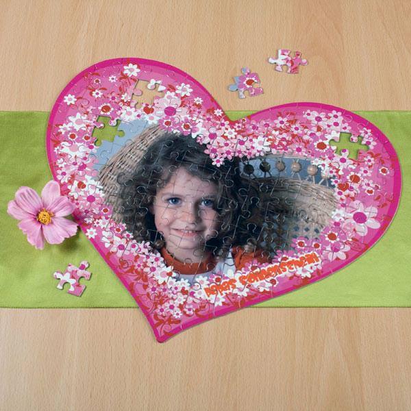 großes Herz Puzzle mit Foto und Text