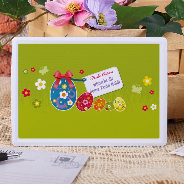 Edle Blechpostkarte zu Ostern mit Spruch
