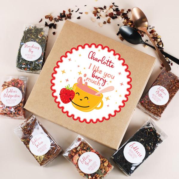 I like you berry much - 6 Tees in Geschenkverpackung mit personalisiertem Etikett