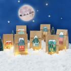 DIY Adventskalender Weihnachtsstadt - 24 Papiertüten und Aufkleber